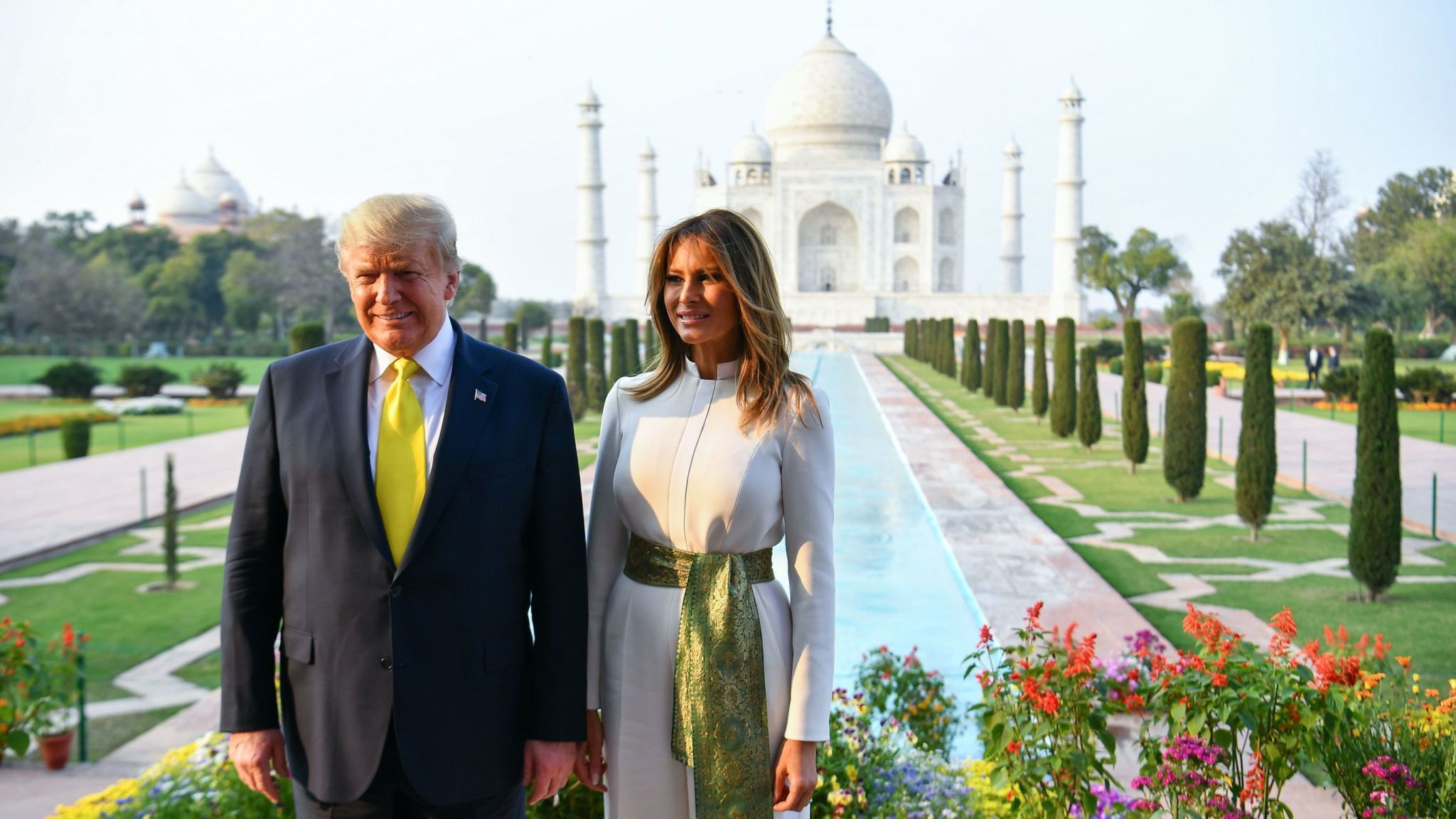Trump with his wife at Taj Mehal